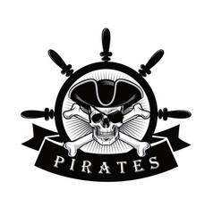 Pirate skull with eyepatch and ship helm logo vector