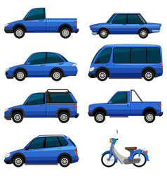 Different types of transportations in blue color vector