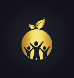 people group round vegan gold logo vector image