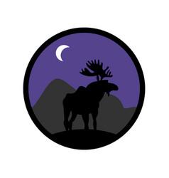 Deer emblem moose logo animal with horns wild vector