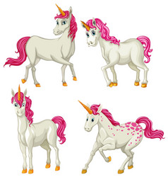 White unicorn in four actions vector