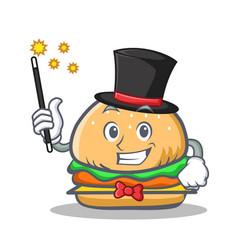 Magician burger character fast food vector