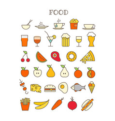 Different meal thin line color icons set vector
