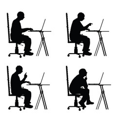 Man silhouette sitting in office chair with laptop vector