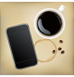 Cup of coffee with mobile phone vector