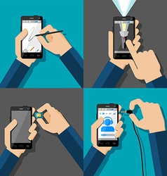 Hands holding touchscreen smartphones vector