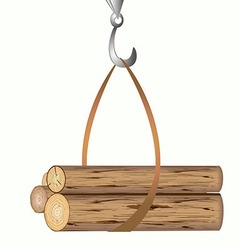 The hook from the crane lifts the logs of trees vector