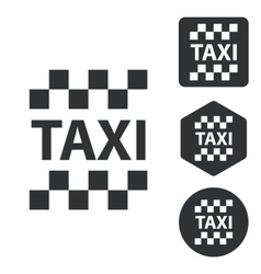 Taxi icon set monochrome vector