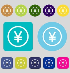 Japanese yuan icon sign 12 colored buttons flat vector