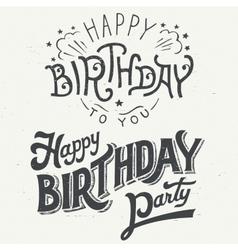 Happy birthday hand drawn typographic design set vector