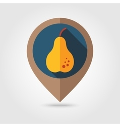 Pear flat mapping pin icon vector