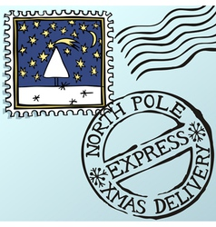 Doodle christmas stamps vector