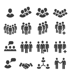 Crowd of people in team icon silhouettes vector