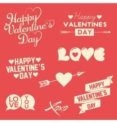 Set of happy valentine s day hand lettering vector