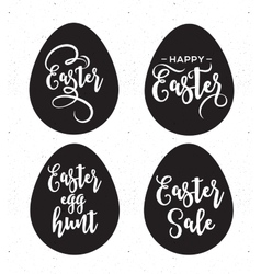 Happy Easter greeting card with eggs and lettering vector image