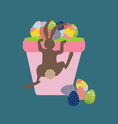 Easter basket with eggs and rabbit vector