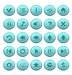 Buttons round blue vector image