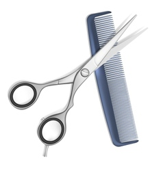 Scissors and comb for hair vector image