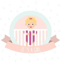 Cute baby girl little baby in baby cot vector