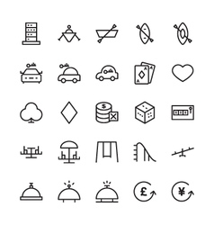 Hotel outline icons 18 vector