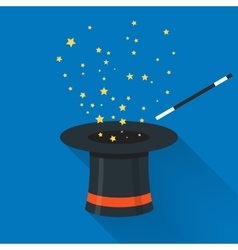 Abracadabra cartoon concept Magic wand with stars vector image