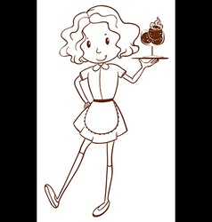 A simple sketch of a waitress vector image vector image