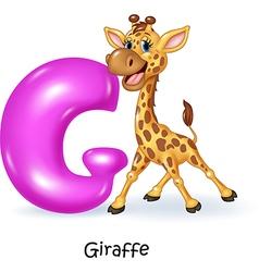Cartoon of G letter for Giraffe vector image