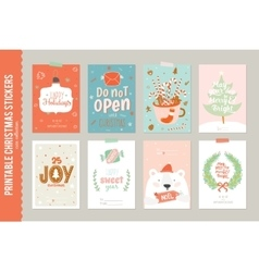 Collection of 8 christmas gift tags and cards vector