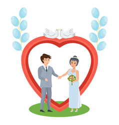 Couple in love stands near arch wedding of people vector