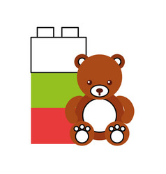 Cute bear teddy with blocks vector
