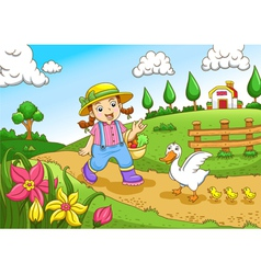 Cute little farmers girl at a farm vector