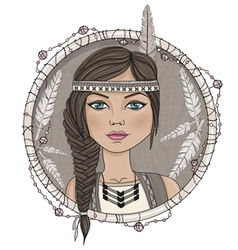 Cute native american girl and feathers frame vector image vector image