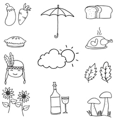 Doodle of thanksgiving object hand draw vector