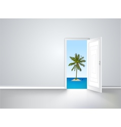 Door to island view behind an open door concept vector image