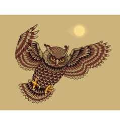 flying owl bird vector image vector image