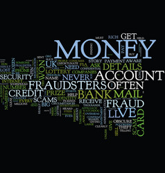 Fraud beware of the fraudsters text background vector