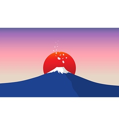 Fuji mountain with falling sakura petals vector