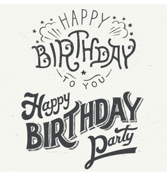 Happy birthday hand drawn typographic design set vector image vector image