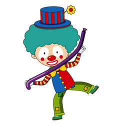 Happy clown with purple balloon vector