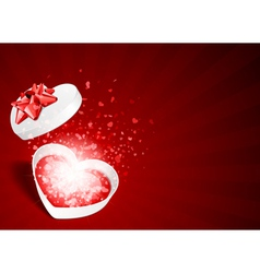 heart gift with fly hearts vector image vector image
