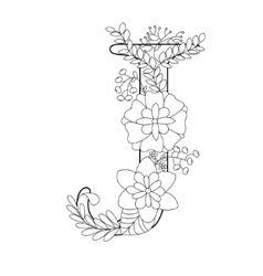 Letter J coloring book for adults vector image vector image