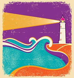 Lighthouse and sea waves Abstract seascape poster vector image