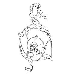 Louis xvi ornament have leaves and flowers vector
