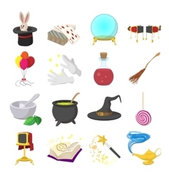 Magic cartoon icons set vector