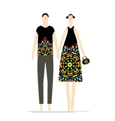 Man and woman together sketch for your design vector image vector image