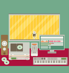 Professional radio station studio with microphone vector