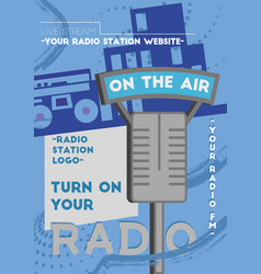 Radio poster template vector