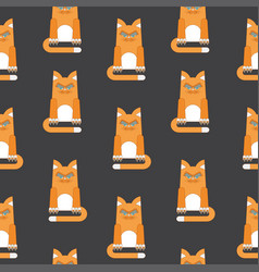 Red cat seamless pattern black vector