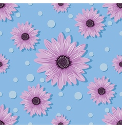 Seamless pattern with violet flowers and dots on vector image vector image