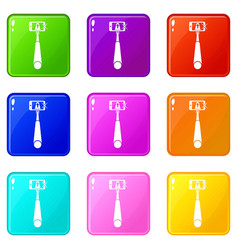 Selfie stick with mobile phone icons 9 set vector